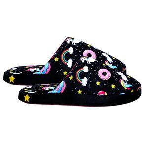 chinelo-feminino-unicornio-donuts-preto-lateral